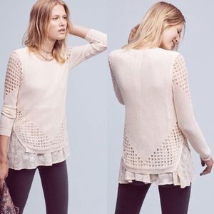 ANTHRO Sunday in Brooklyn Fiona Lace Trim Sweater